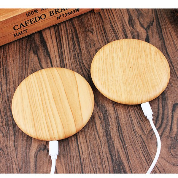 Portable For iPhone 11 Pro Max XS Samsung Huawei Universal Wood texture Round Wireless charging 5V/2A Desktop Charger Pad
