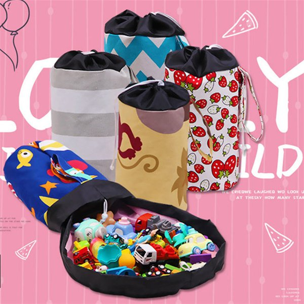 Drawstring Capacity Canvas Storage bucket Bag Toys Storage Space Saving Kids toys Organizer Drawstring Pouch 20pcs T1I1706