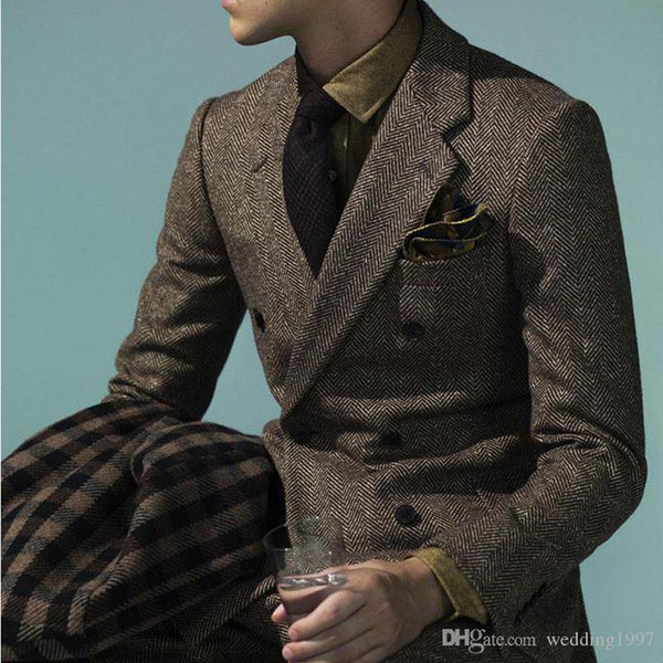 Two Piece Double Breasted Wedding Men Suits Tweed Notched Lapel Groom Tuxedos Jacket Pants Male Blazer Latest Style