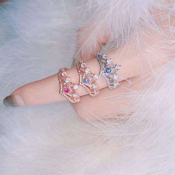 1 stück Elegante Königin Silber Krone Ring Für Frauen Punk Neue Marke Mode Kristall Schmuck Dame Ringe Femme