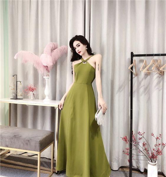 Summer 2019 New Women Halter Sleeveless Evening Dresses Lady Banquet Host Backless Bow Dresses Long Skirt QC0207