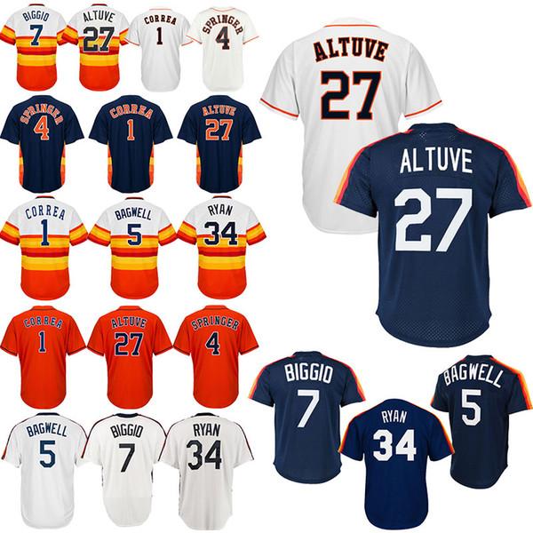 Houston Baseball-Shirt Astros Altuve 27 Jose-Trikots Correa 1 Carlos Ryan 34 Nolan Springer 4 George Biggio 7 Craig