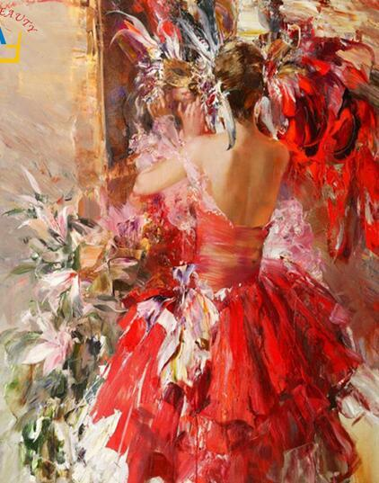 40x50cm oil painting by numbers Painting on canvas decorative calligraphy Canvas Painting by number brush Drawing dance girl
