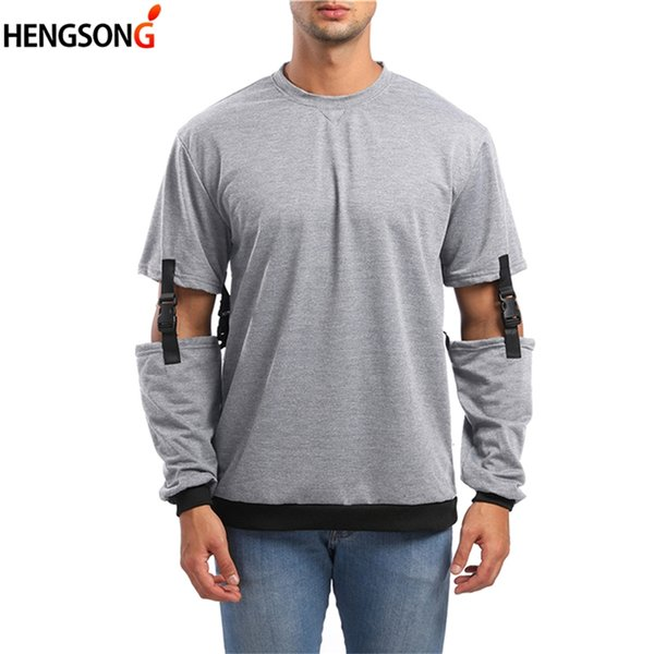 Spring Autumn Casual Men's Sweatshirt O-Neck Detachable Sleeve Fashion Stitching Sweatshirt Pullovers For Men