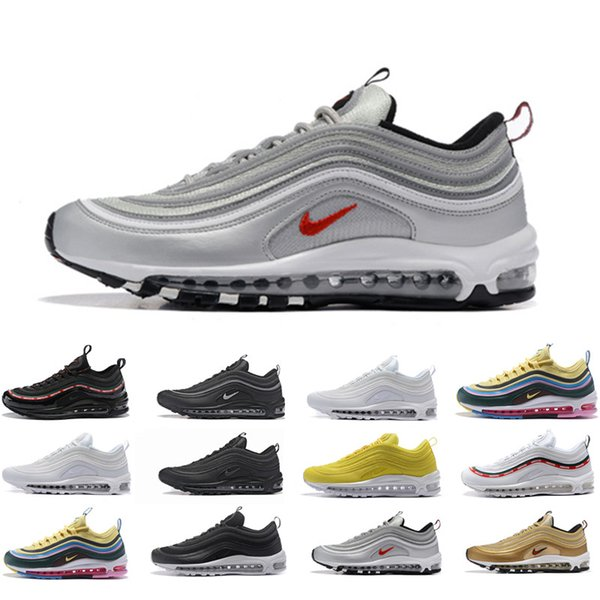 best selling 2020 Air Bred Max 97 Men Women Running Shoes Ultra White Balck Metallic Gold Evergreen Sunburst UNDEFEATED Team Red Max 97s Sports Sneakers