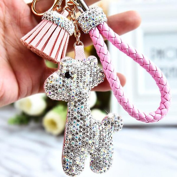 Keychains Tide Brand Car Keychain female Korean cute hair ball giraffe pendant personality creative car key chain high-grade bag ornaments