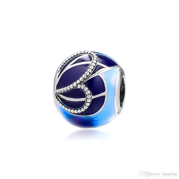 2019 Spring 925 Sterling Silver Jewelry Blue Butterfly Wing Charm Beads Fits Pandora Bracelets Necklace For Women DIY Making