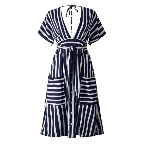 LOSSKY Striped Print Sexy Dress Casual Short Sleeve Deep V Neck Backless Sashes Pocket Buttons Dresses Lace Up Summer Midi Dress