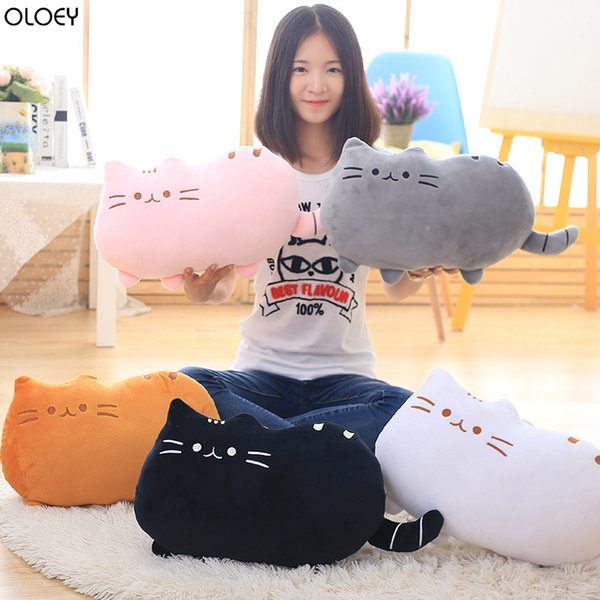2019 Cute 20cm/40cm Creative Biscuit Cat Pillow Comet Human Plush Doll Sofa Home Couch Pillows Decorative Living Room Pillows