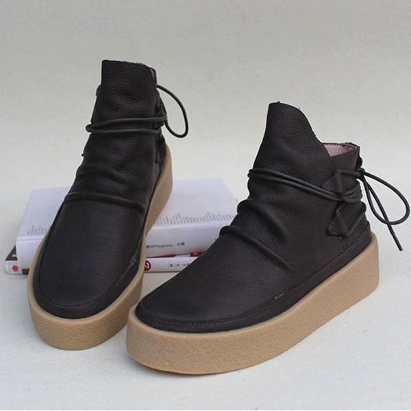 Bottes de femmes 100% cuir authentique plate-forme de dentelle Bout rond Bottes Femme Chaussures Femme up Chaussures Automne (de wr339)