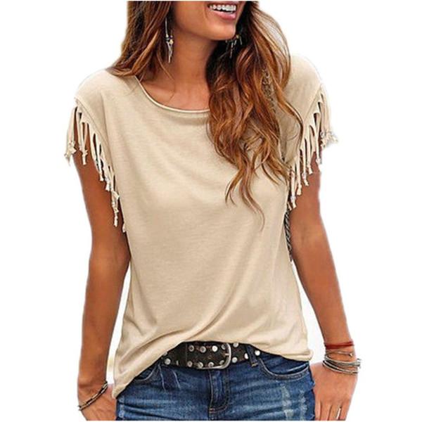Autunno Tassel Casual Femme Donna O-Collo Femminile Nero Bianco Maglietta Manica corta T-Shirt Donna Maglietta Top Q190507
