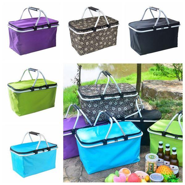 Açık Piknik Meal Çanta Katlama Oxford Bezi Buz Paketi Aile Açık Piknik Gıda Saklama Torbası Takeaway Konteyner 5 Renk CCA11779-A 6pcs