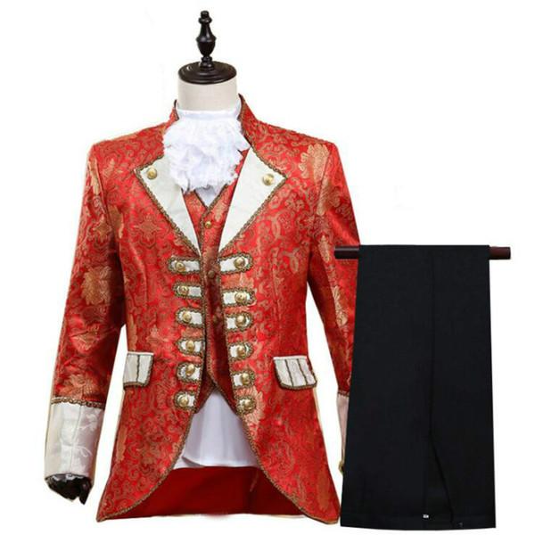 Costume habillé pour homme sur scène européenne White Horse Prince Stage Vêtements rétro pour théâtre européen