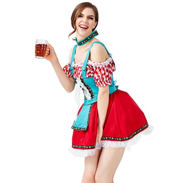 Oktoberfest Robes de soirée sexy Choker bière Femmes Filles Carnaval cosplay costume 2019 Mode bavarois Wench Fancy adultes Uniforme