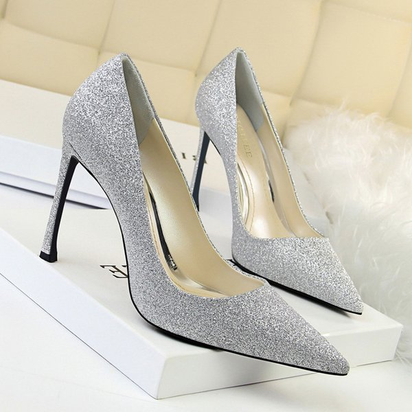 Goddess2019 Wedding Bridesmaid Woman Light Colour Fine With Silver Shallow Mouth Sharp Sexy Slimming Club Single Shoe High-heeled Shoes