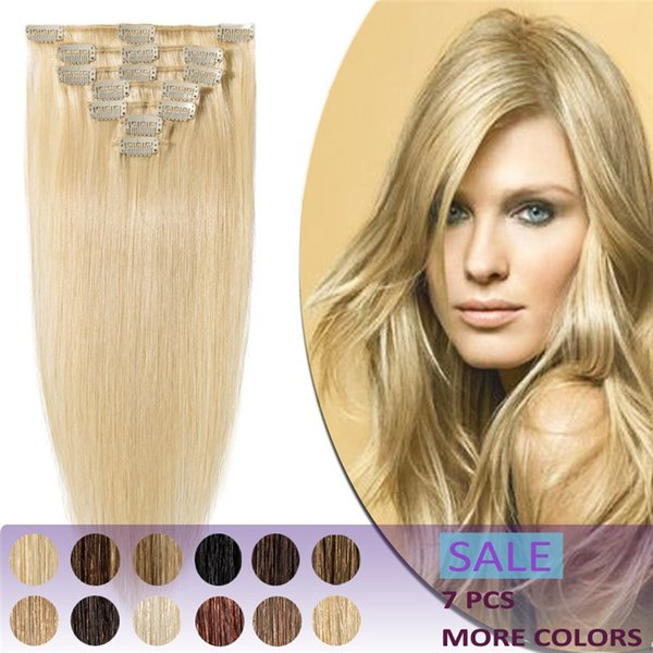 100% Clip in Remy Human Hair Extensions Grade 8A Full Head 7pcs 120g Long Soft Silky Straight for Women Fashion #613 Bleach Blond