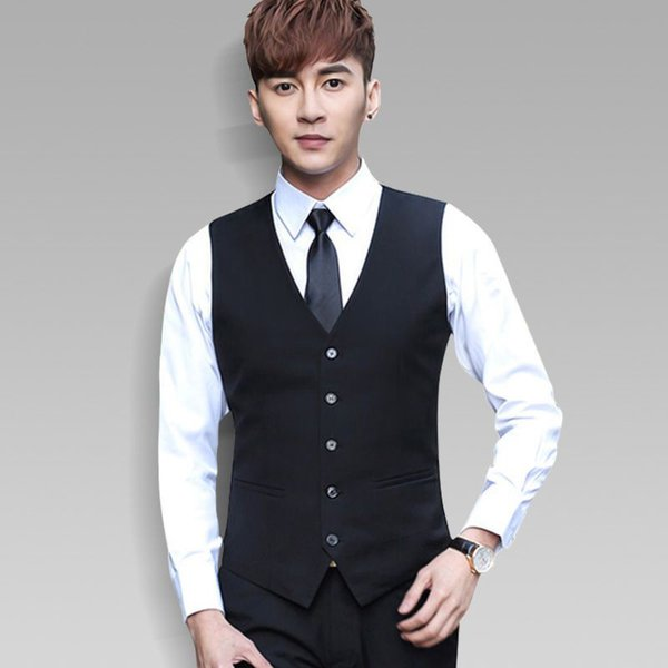 New Mens Suit Vest Brand Clothing Business Casual Slim Wedding Waistcoats Men's Dress Vests Formal Vest Black Blue Colete