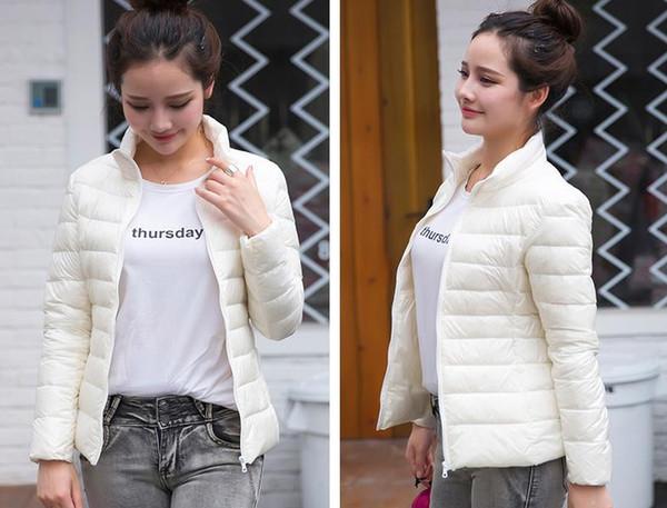 Leichte Daunenjacke Damen Winter Dünnschnitt Kurzschnitt Schlank Kragen Kragen Größe Ultra Light Fat Coat