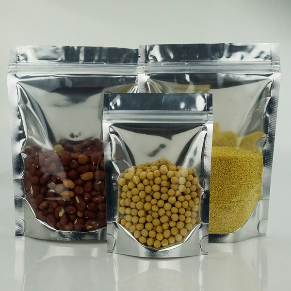 9*14cm, 100pcs Stand up translucent aluminium ziplock bag - Front clear reclosable metallic aluminum mylar plastic pouch zipper seal