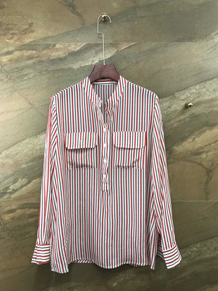 2019 autumn and winter new female chest symmetrical buckle off decorative stripes long sleeve wild shirt shirt 1105