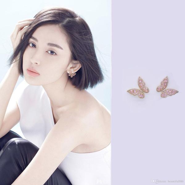 High Fashion Super Net Red Butterfly Earrings S925 Sterling Silver Needle Stud Earrings Super Zircon Dangles Chandelier