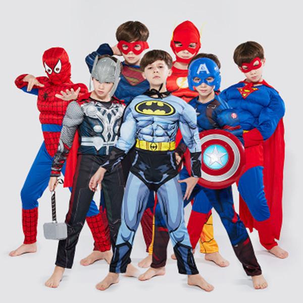 Halloween Crianças Cosplay Roupas para crianças Músculos Vingadores Superheroes Capitão América Superman o Homem-Aranha de Ferro Panther Homem Vestuário S-L