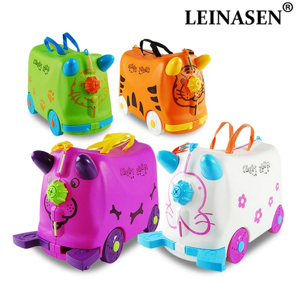 N fashion travel luggage locker boy girl cars Toy box suitcase Can sit to ride baby Check box children holiday gift Bear 50KG