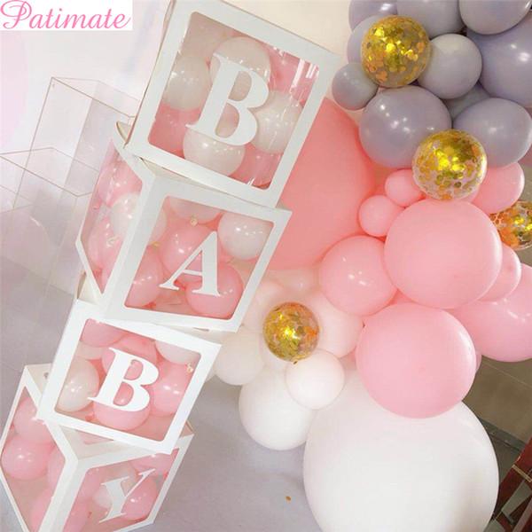 Großhandel 4 Stück Mädchen Jungen Baby Dusche Dekoration Transparent Box Baby Taufe Geburtstag Party Decor Karton Geschenk Babyshower Supplies Von