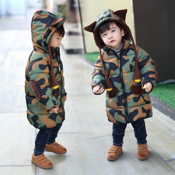good quality Fashion Boy Clothes Winter Coat Hooded Camouflag Coats Jacket Kid Zipper Thick Outerwear Baby Clothes roupa menino