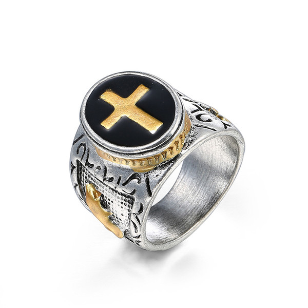 Venta caliente Tamaño 7-15 Vintage Silver Gold Black Two-Tone Holy Cross Signet Ring Oración Christian Jesus Religioso Cocktail Valentine