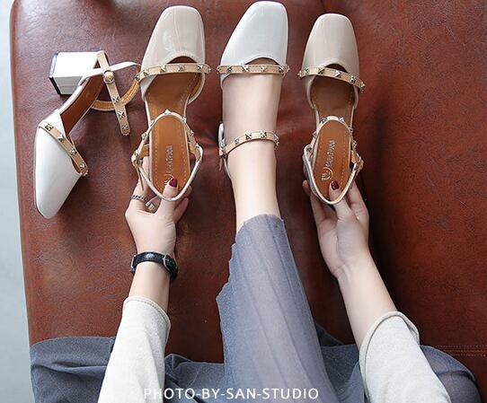 Summer 2019 New Fashion Euro-American One-word Buckle Fairy Rough High Rivet Square Head Grandma Shoes Tide