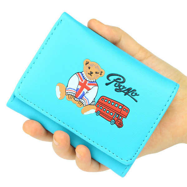 Women Wallets Lady Purses Id Cards Holder Coin Purse Pouch Candy Colors Woman Cartoon Beer Short Wallet Girls Money Bags Pockets