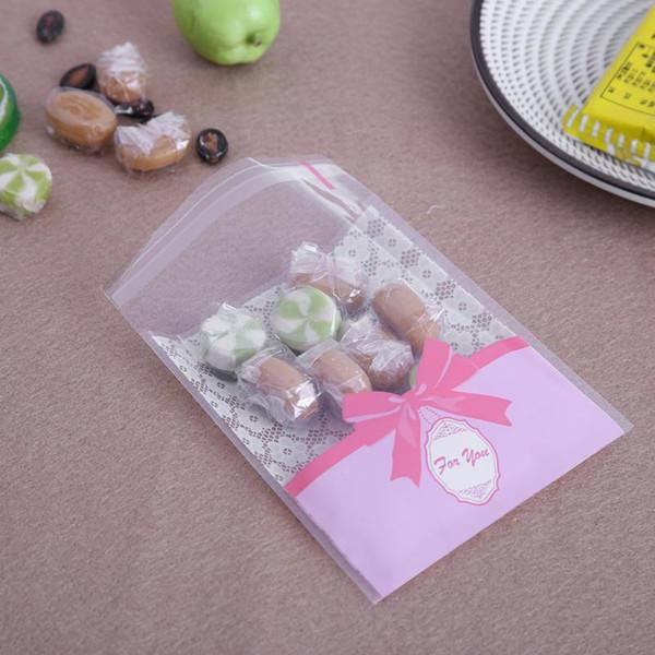 100pcs belle sacchetti di caramelle autoadesivi sigillo di plastica biscotti caramelle imballaggio sacchetti regalo sacchetti regalo di nozze di Natale