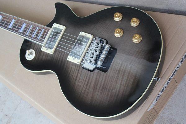 Chitarra elettrica standard 22 voci twin-swing in acero tigre blu-nero trasparente