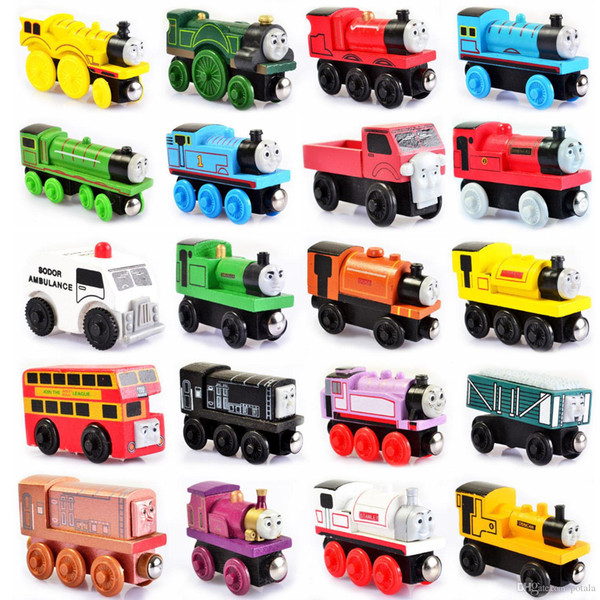 Les petits trains en bois magnétique Toy Cartoon 48 Styles sac opp Trains amis TrainsCar Jouets Bus Meilleur Noël Thomas Jouets d'enfants Modèle Diecast