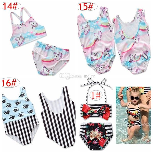 Ins Einhorn Mädchen Floral Bademode Infant Halter Strampler Badeanzug Kinderbekleidung Mode Zweiteiler Bikinis Strand Badeanzug Onesies