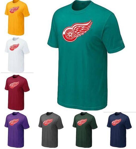 Nouveau style Red Wings Tall Men Sideline Légende Logo authentique rouge et noir gris T-shirt blanc