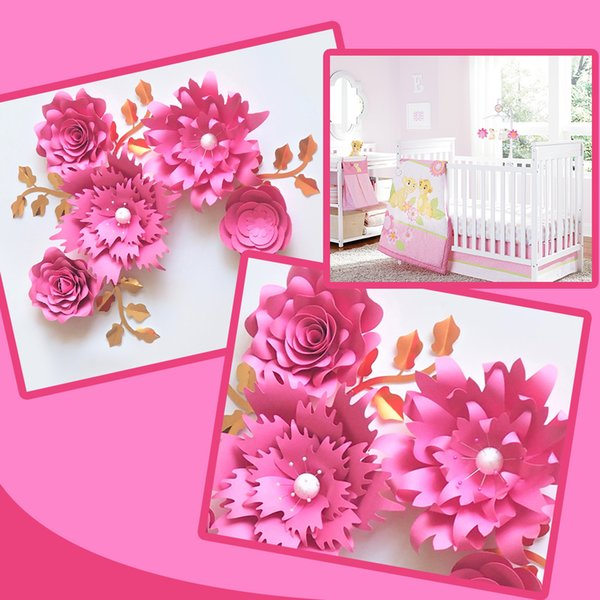 Handmade Cardstock Rose DIY Paper Fake Flowers Leaves Set For Wedding & Event Backdrops Decorations Nursery Wall Deco Video Tutorials