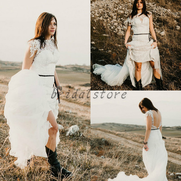 Summer Bohemian Wedding Dresses Short Sleeve High Neck full Lace Hippie Long Train Backless Bridal Gowns Cowboy Style Country Leather Belt