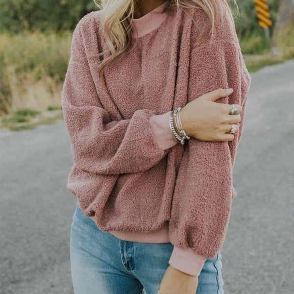 2019 Mujeres Baggy Plush Fluffy Warm Fleece Sudaderas Tops Moda de Invierno Manga Larga O Cuello Jerseys Casual Solid sudadera