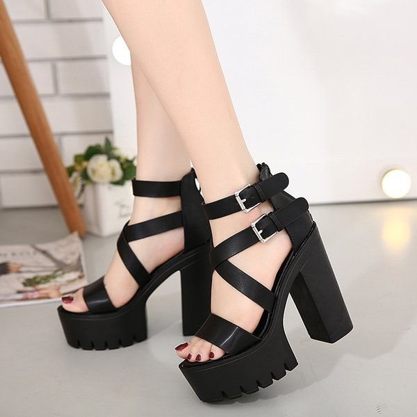 Night club stage dancing shoes Sandals boots sexy Womens Shoes chunky thick heel super high-heeled platform shoes leather 13 cm roman style