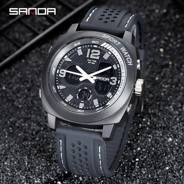 SANDA 2019 Мужские часы Смола ремешок Мода светящаяся Running Открытый Часы Relogio Рождественский подарок