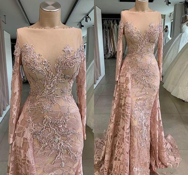 Reais Imagens de luxo Africano Dubai Prom Vestidos pescoço bateau Lace Appliqued frisada Vestidos de noite Sereia formal do partido Vestidos Pageant