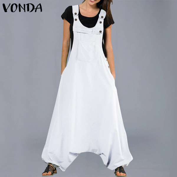 Vonda Jumpsuits Womens Rompers 2019 Summer Casual Cotton Harem Pants Trousers Female Sexy Sleevelss Long Playsuits Plus Size MX190726