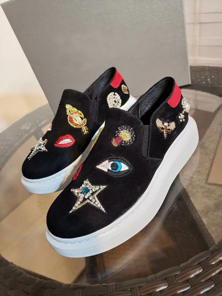 2019New moda erkek ve kadın eğlence ayakkabı yüksek kalite desen dikiş aşınma direnci artırmak için klasik düz taban ayakkabı orijinal kutu