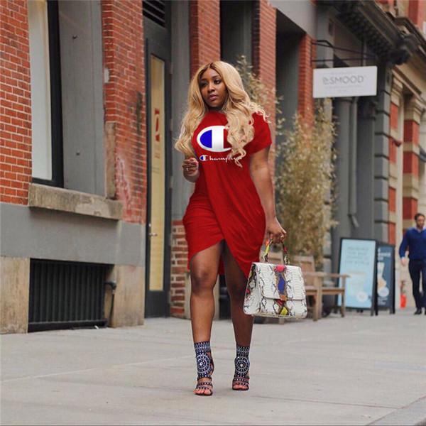 best selling Women Champions Letter Print Irregular Slit Dress Summer Fashion Short Sleeves Knee-Length T shirt Skirt Casual Sweatshirts Dresses A413003