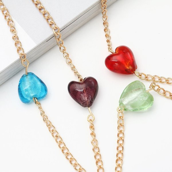 Reading Glasses Chain Sunglasses Holder Neck Strap Metal Rope Colored Heart Glass  Necklace Eyeglass Lanyard