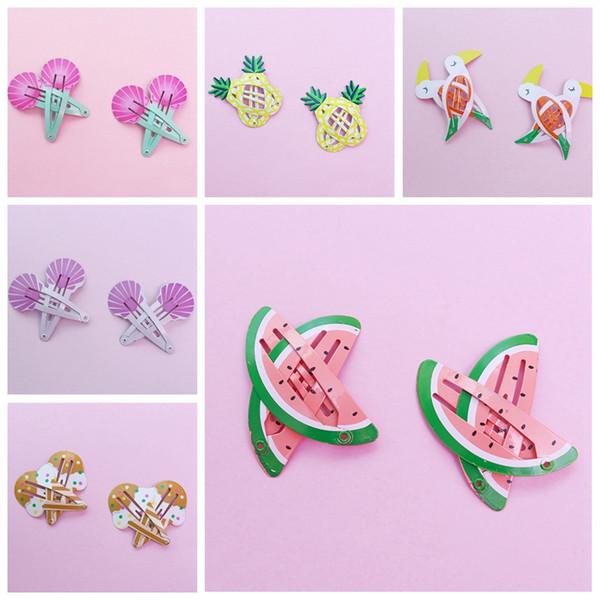 Фрукты зажим для волос детские дети заколки аксессуары ins розовый зажим для волос прекрасный арбуз птицы оболочки ананас девушки подарки заколки