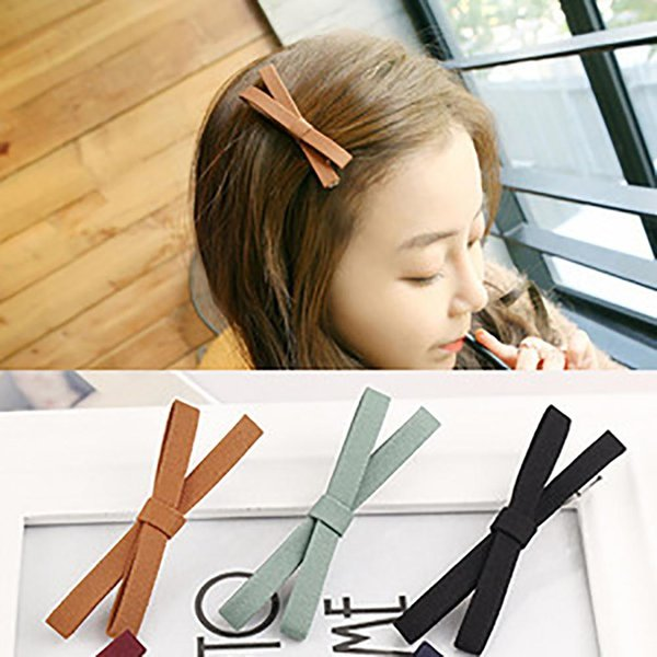 Fashion Vintage Solid Color Cloth Bowknot Hair Clip Women Hair Styling Tools Decoration Gift Accessories