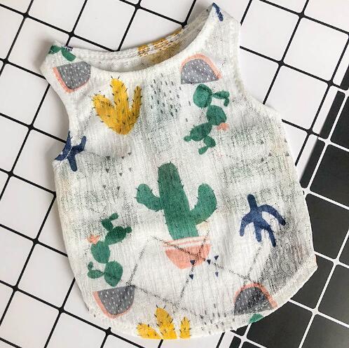 Vêtements de dessin animé Gilets pour chiots pour animaux domestiques T-shirts Chiens d'été Vêtement sans manches en coton pour chat Chemises souples T-shirt respirant Imprimé Teddy Chihuahua